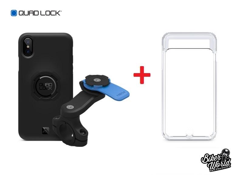 new concept 5b045 9e7ca QUAD LOCK Handlebar Mount Kit iPhone X + Poncho